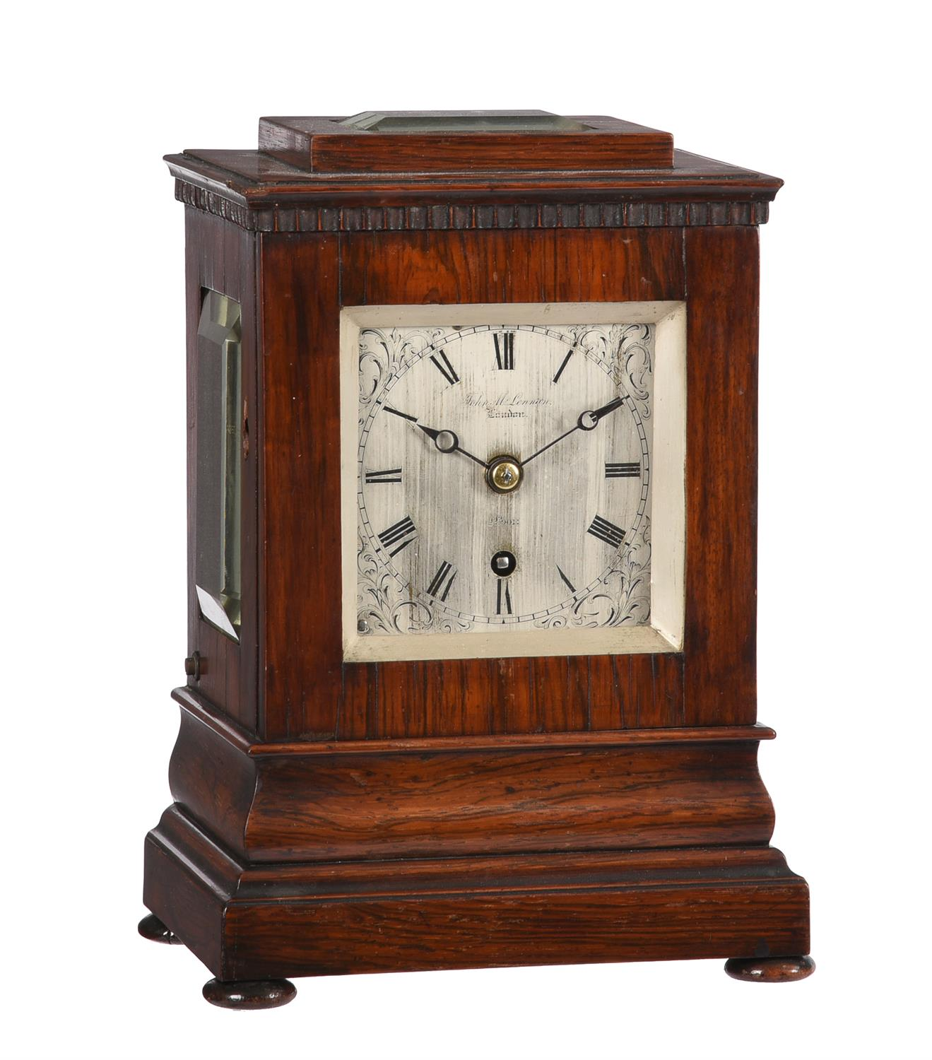 Y A Victorian rosewood small five-glass library mantel timepiece
