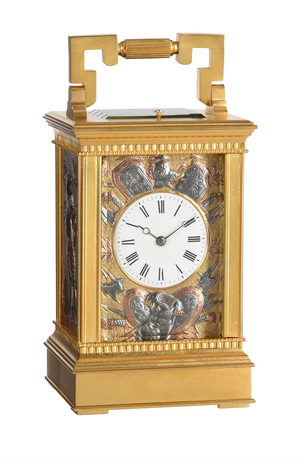 A fine French gilt brass carriage clock with multi-colour relief cast panels and push-button repeat
