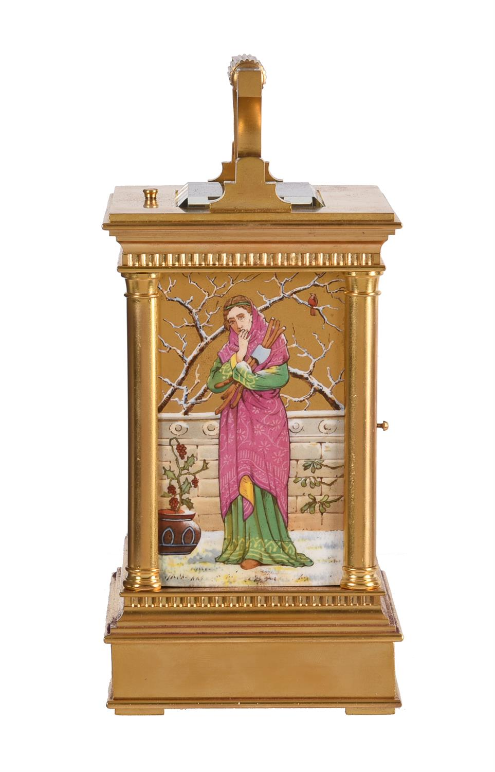 A fine French gilt brass carriage clock with painted porcelain panels and push-button repeat - Image 4 of 7