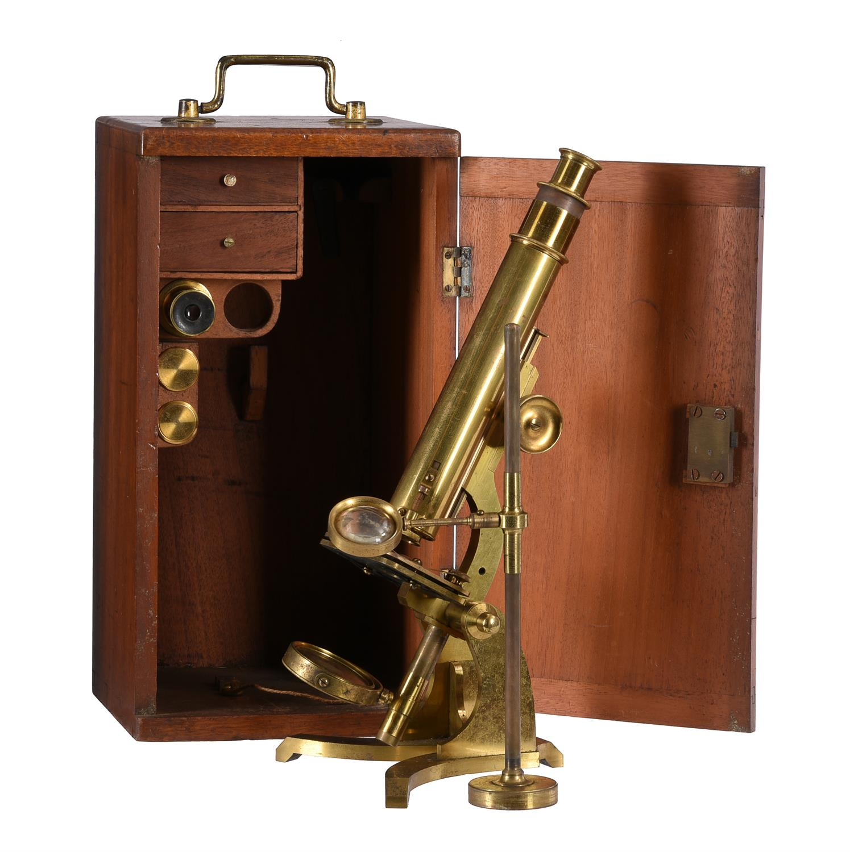 A Victorian lacquered brass monocular compound microscope