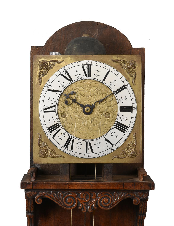 A fine and very rare Charles II walnut hooded wall clock, Nathanial Barrow - Image 2 of 5