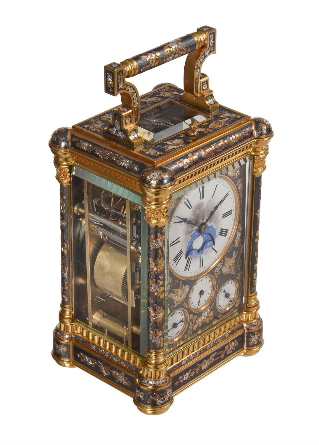 A fine multi-colour grande-sonnerie striking and repeating moonphase calendar alarm carriage clock - Image 6 of 8