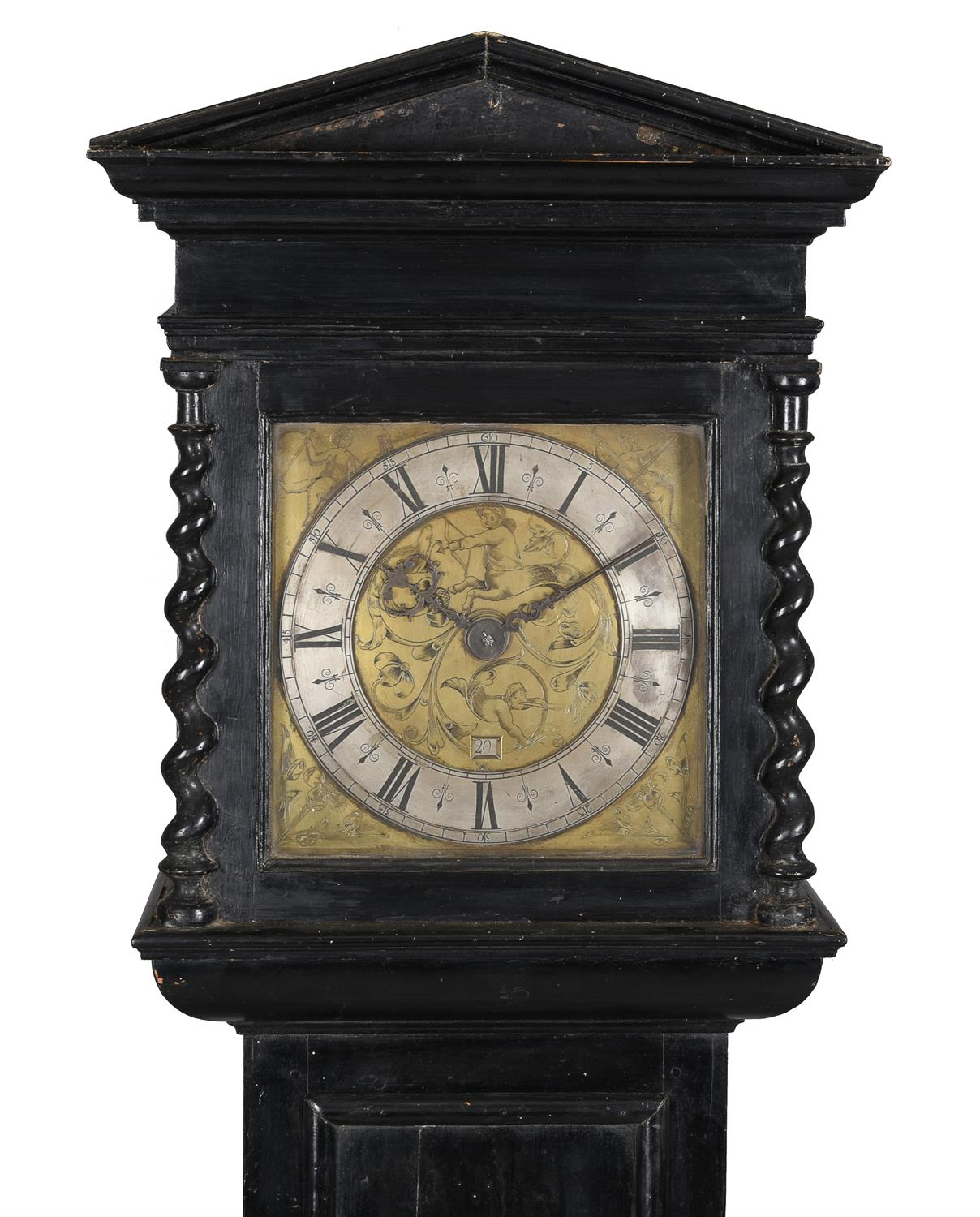 A fine Charles II ebonised thirty-hour longcase clock with unusual figural engraved 10 inch dial - Image 2 of 6