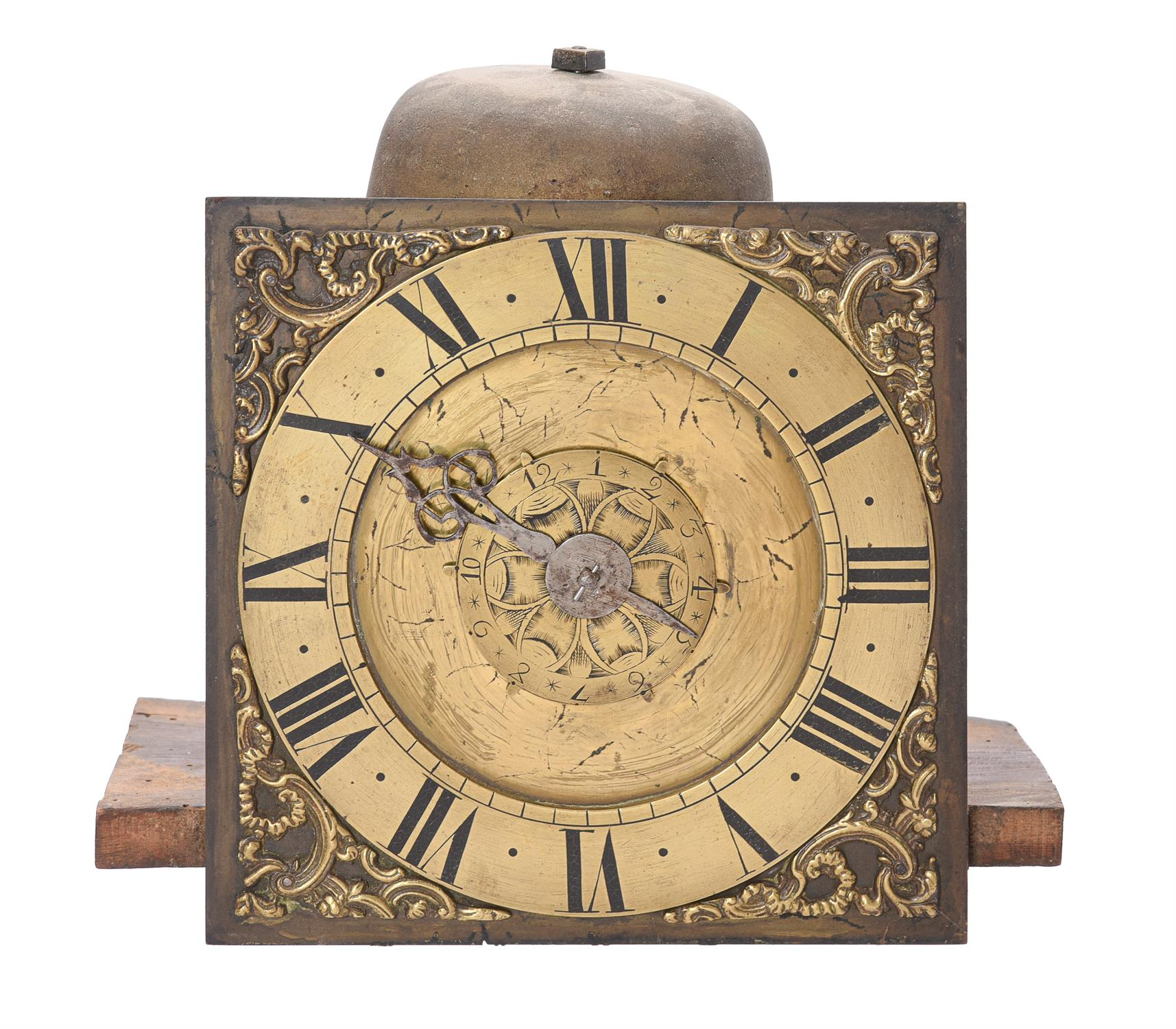 A George III stained pine hooded wall alarm timepiece - Image 2 of 3