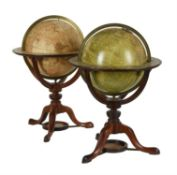 A fine pair of George III/Regency 12 inch library table globes, Thomas Bardin and William & Samuel J
