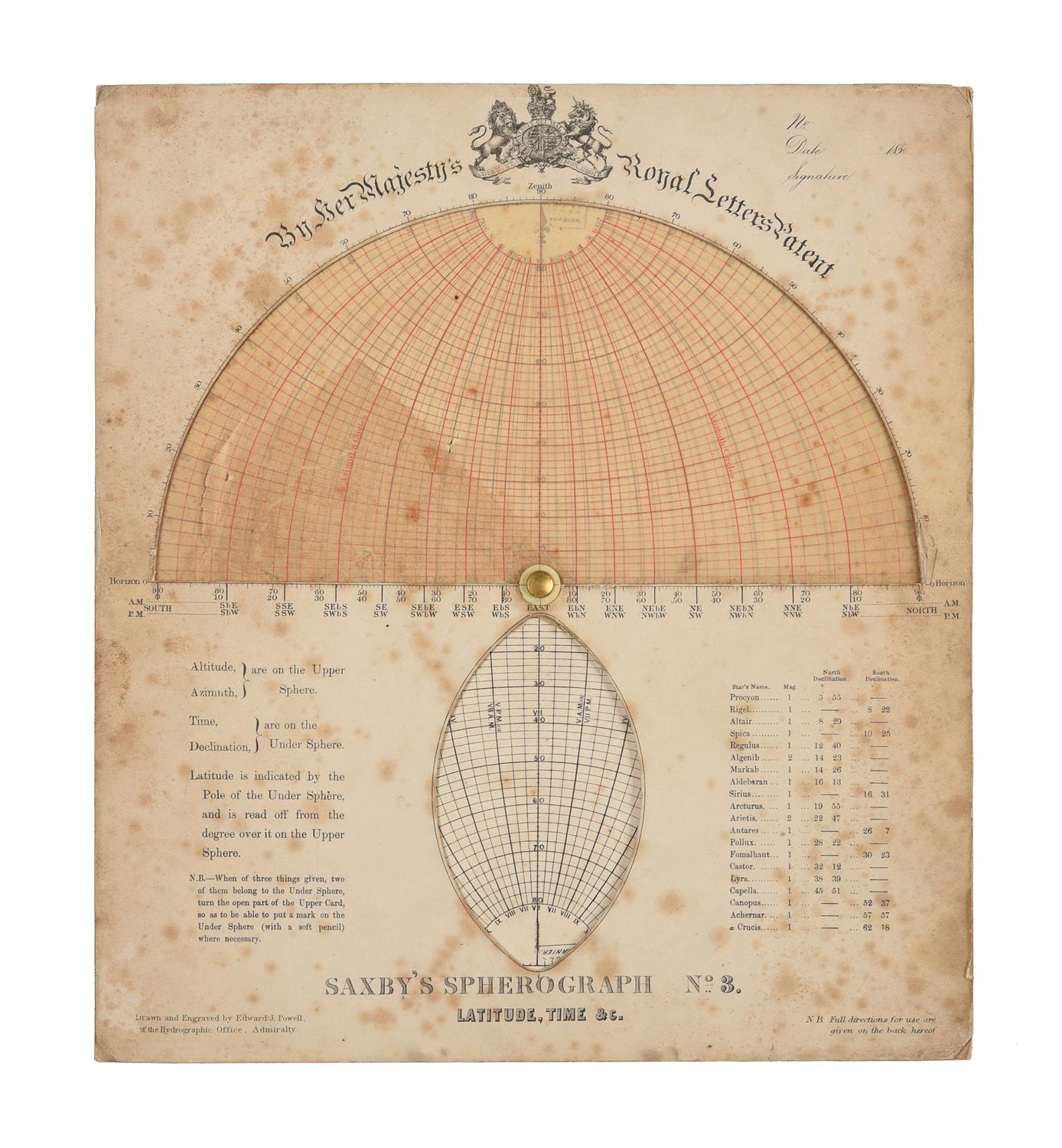 A rare group of 'Saxby's patent spherograph' marine navigational error calculator panels - Image 17 of 19