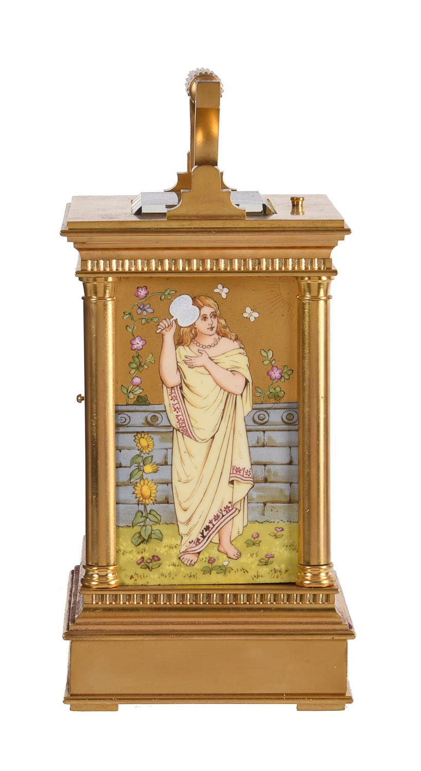 A fine French gilt brass carriage clock with painted porcelain panels and push-button repeat - Image 3 of 7