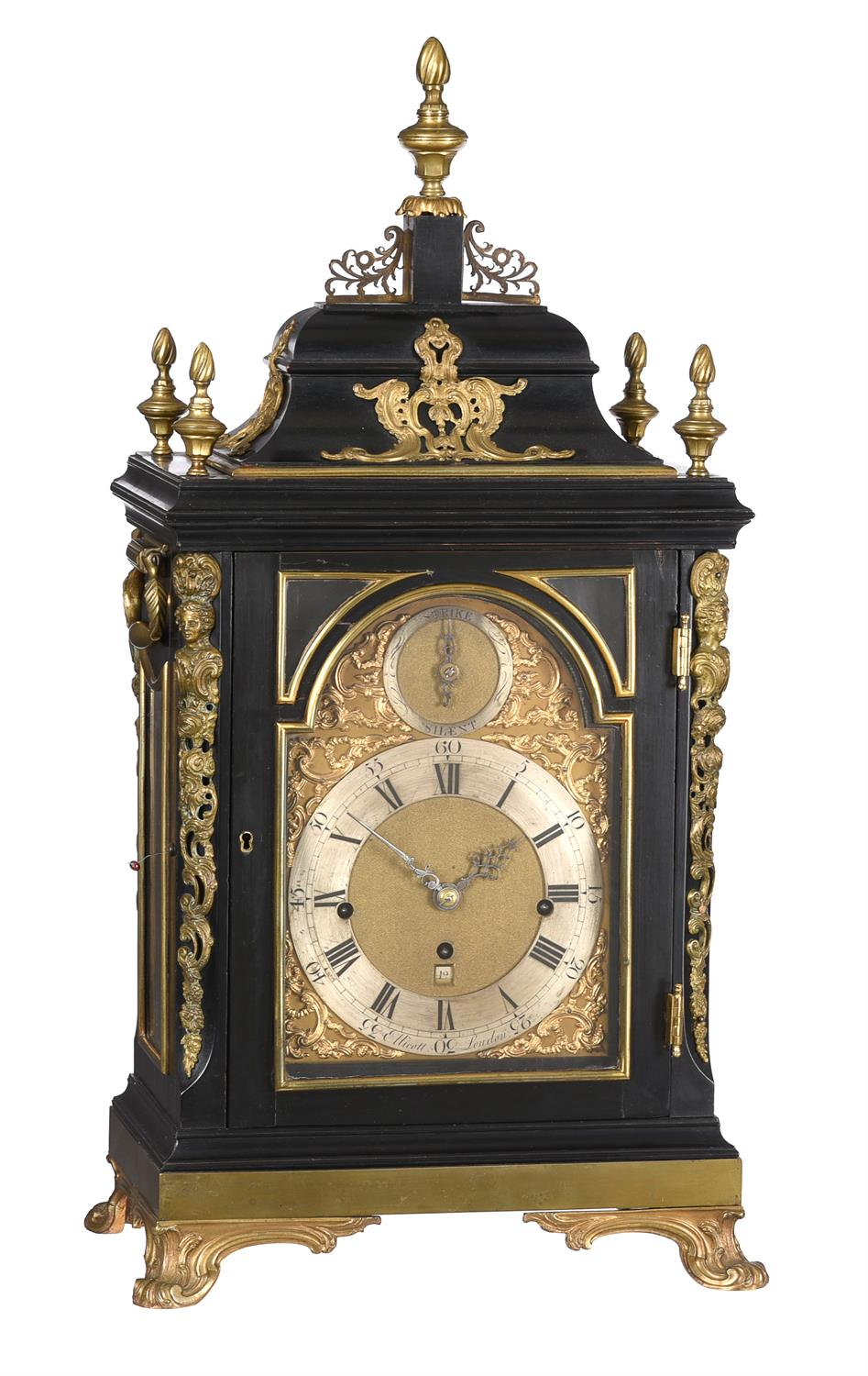 A fine George III ormolu mounted ebonised quarter-chiming table clock with pull-trip repeat