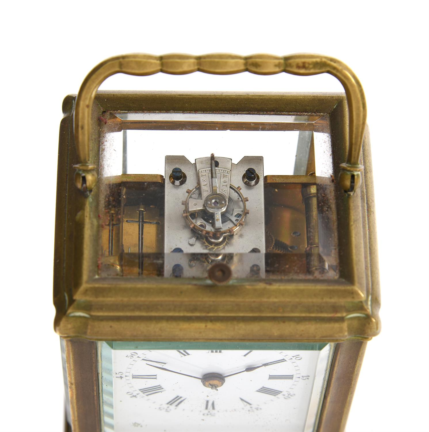 A French brass mid-sized gorge carriage clock with push-button repeat - Image 2 of 3