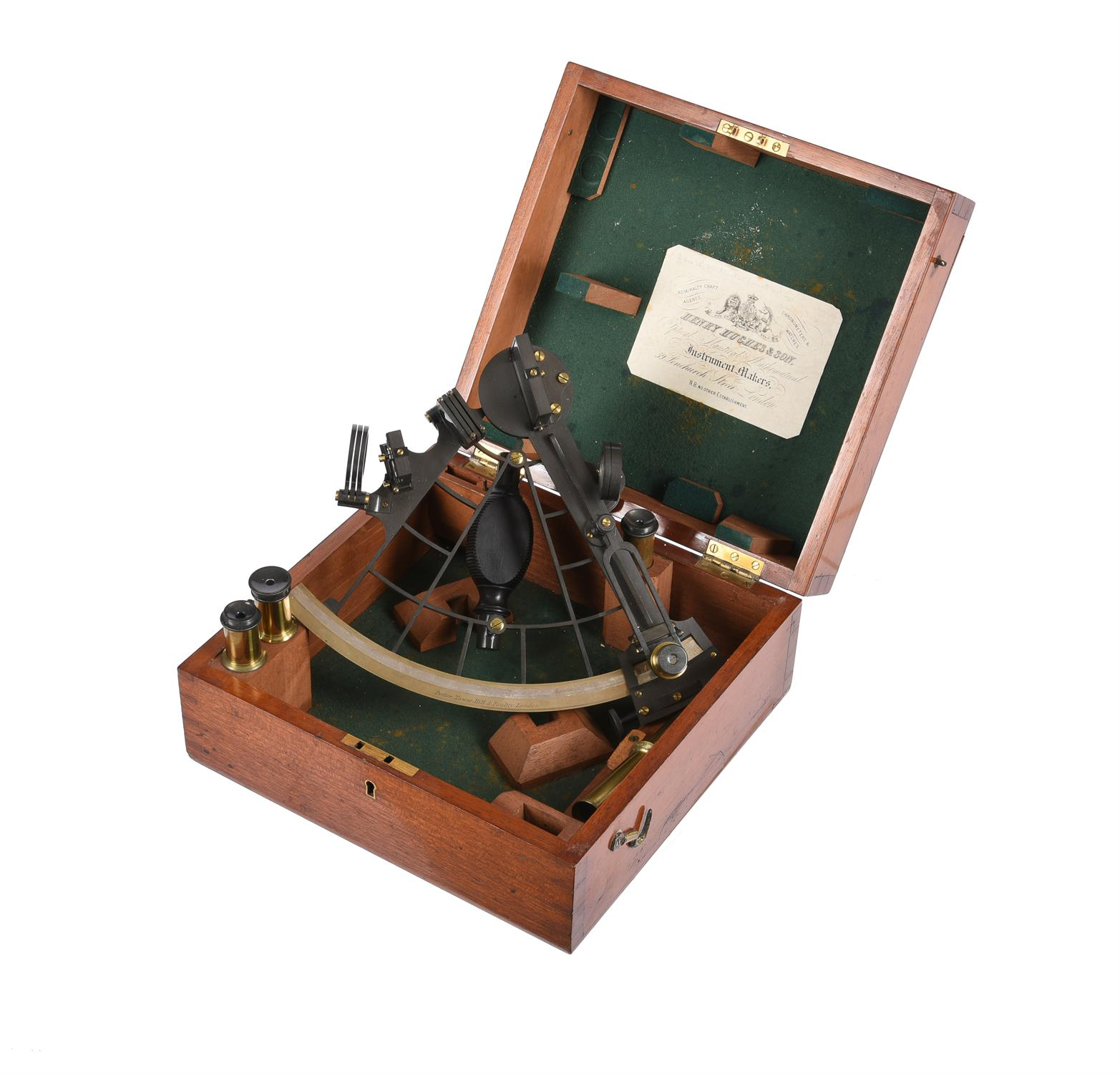 A Victorian patinated brass sextant