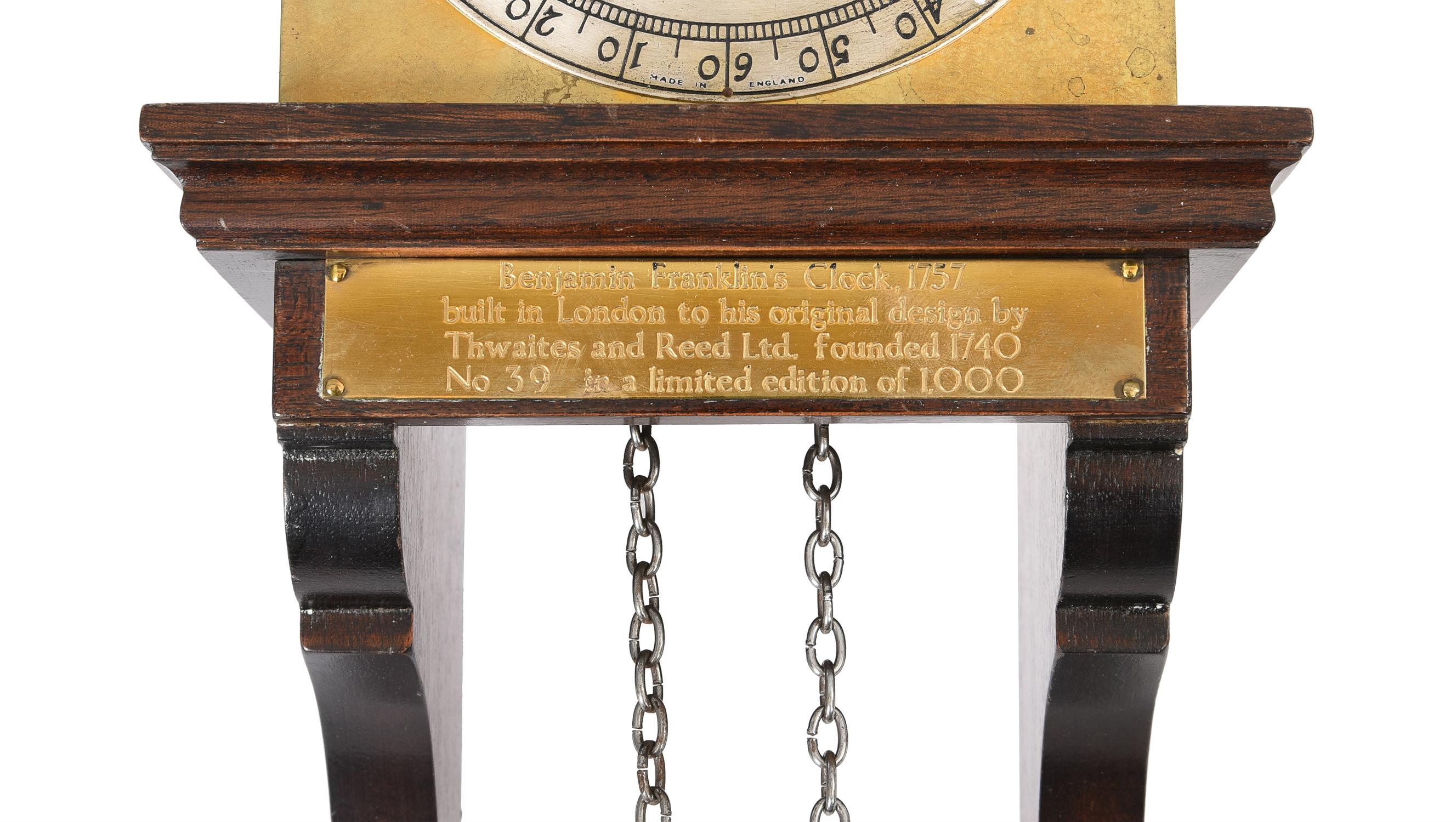 A weight-driven three-wheel 'Franklin' wall timepiece - Image 2 of 2