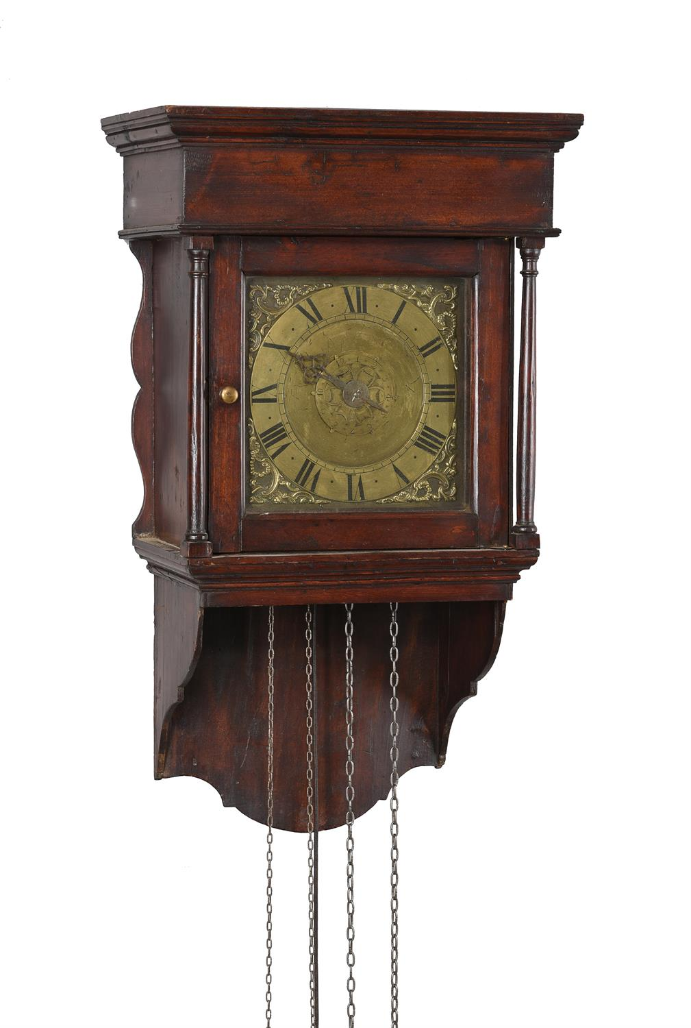 A George III stained pine hooded wall alarm timepiece