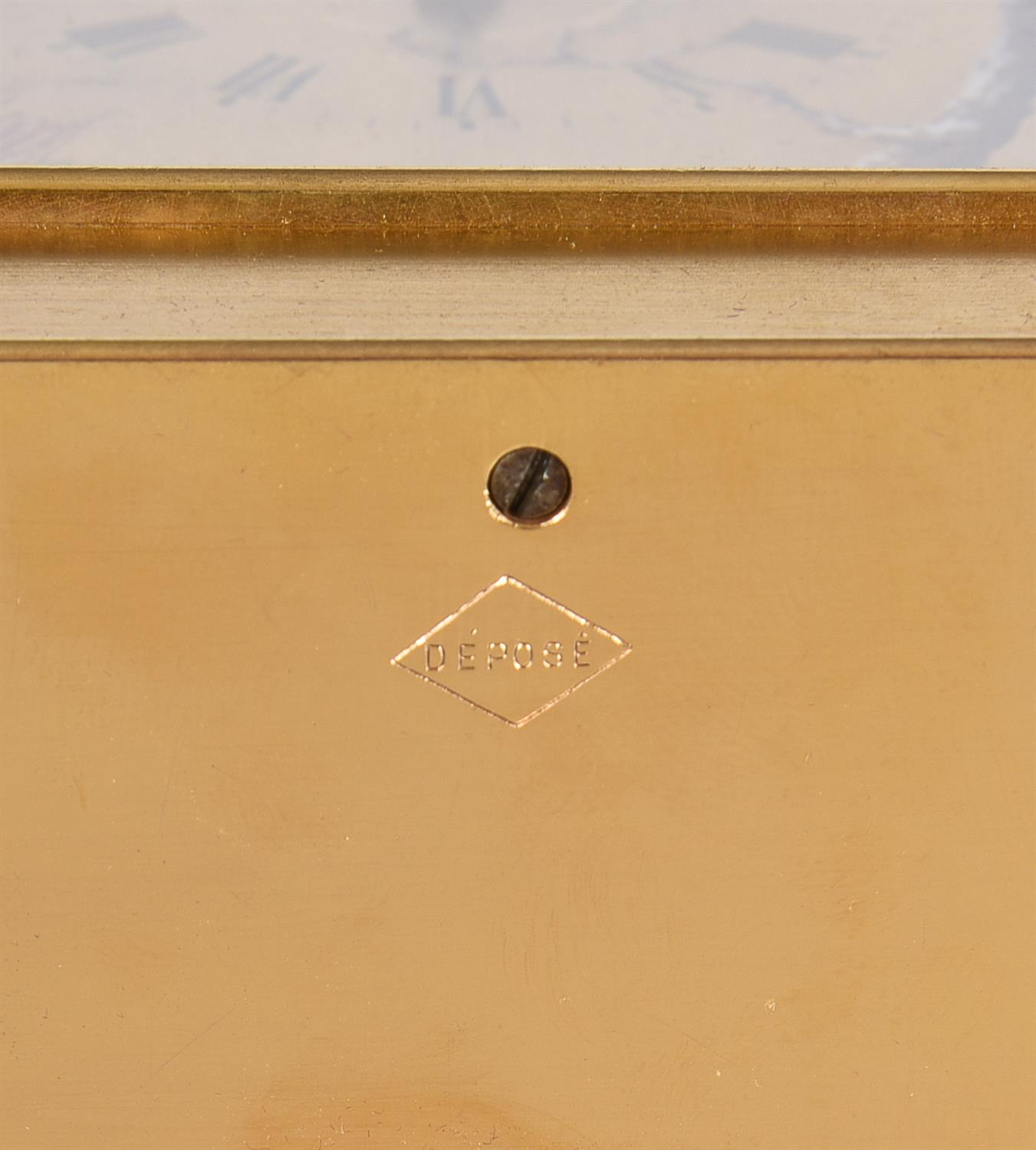A fine French gilt brass carriage clock with painted porcelain panels and push-button repeat - Image 6 of 7