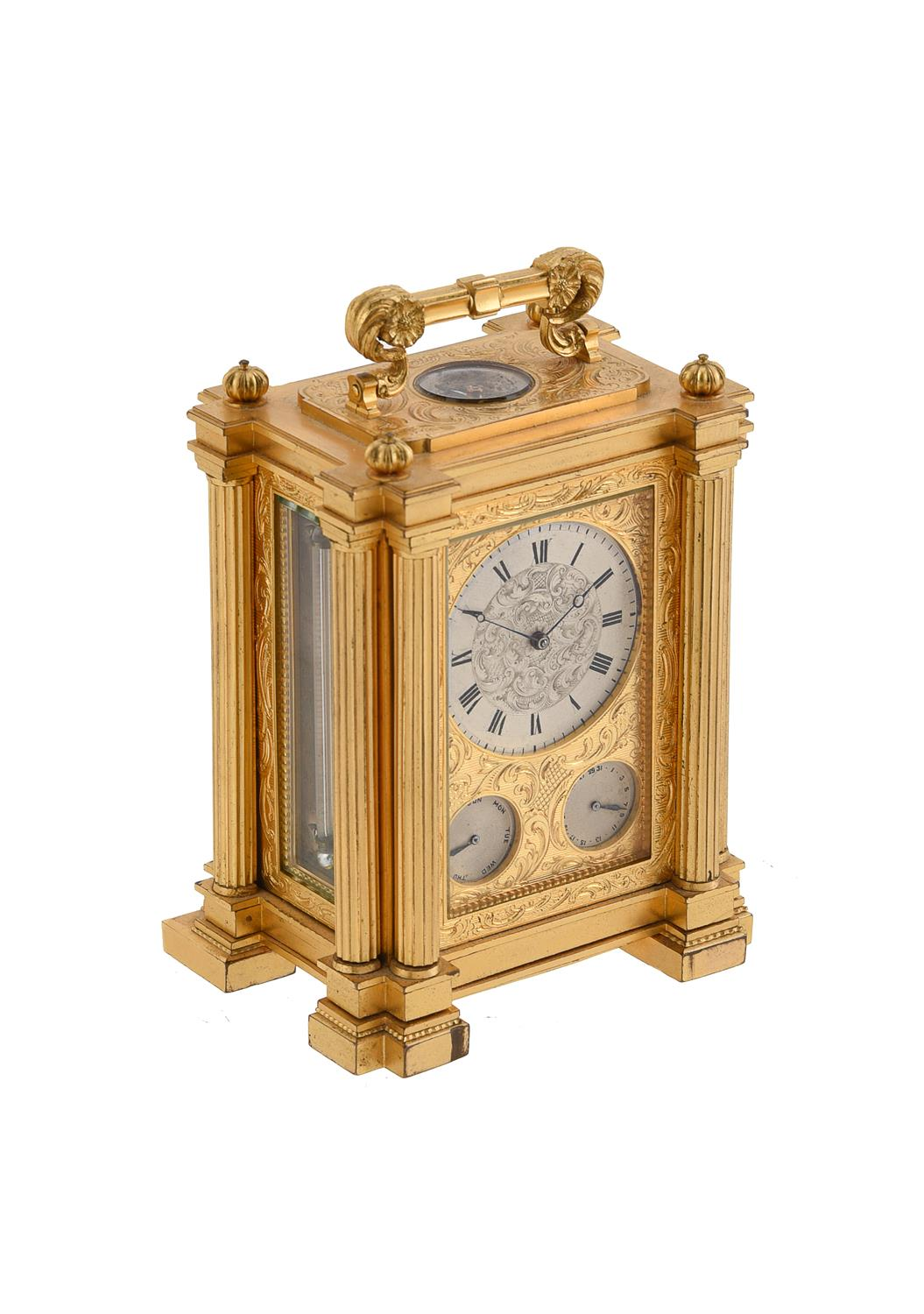A fine small early Victorian engraved gilt brass small calendar carriage timepiece with twin thermom - Image 8 of 14