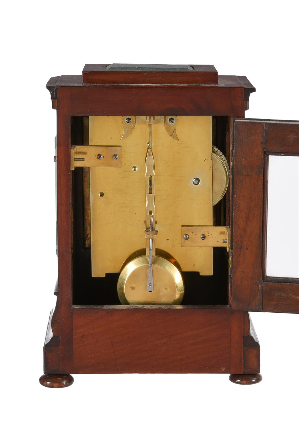 A Victorian figured mahogany small four-glass library mantel timepiece - Image 3 of 3