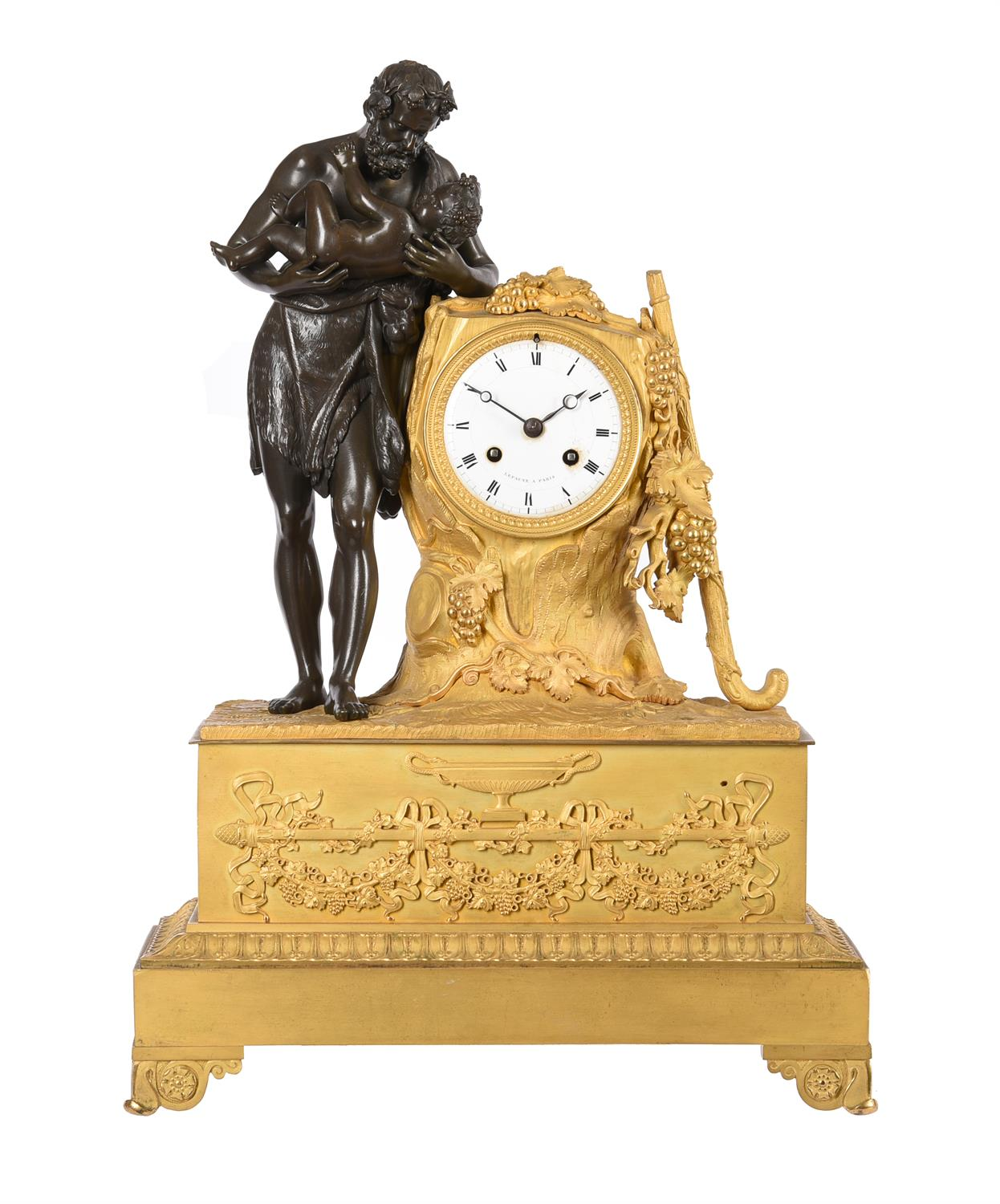 A French Empire Ormolu and patinated bronze figural mantel clock
