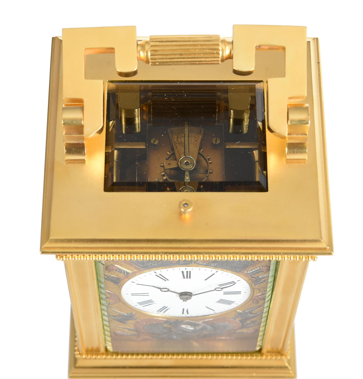 A fine French gilt brass carriage clock with multi-colour relief cast panels and push-button repeat - Image 3 of 7