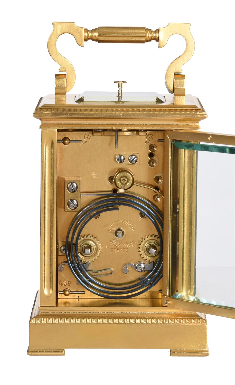 Y A French gilt brass carriage clock with painted ivory panels and push-button repeat - Image 5 of 5