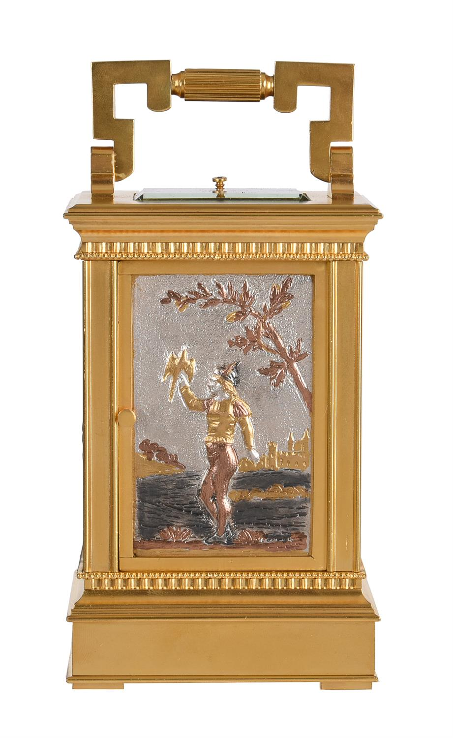 A fine French gilt brass carriage clock with multi-colour relief cast panels and push-button repeat - Image 6 of 7