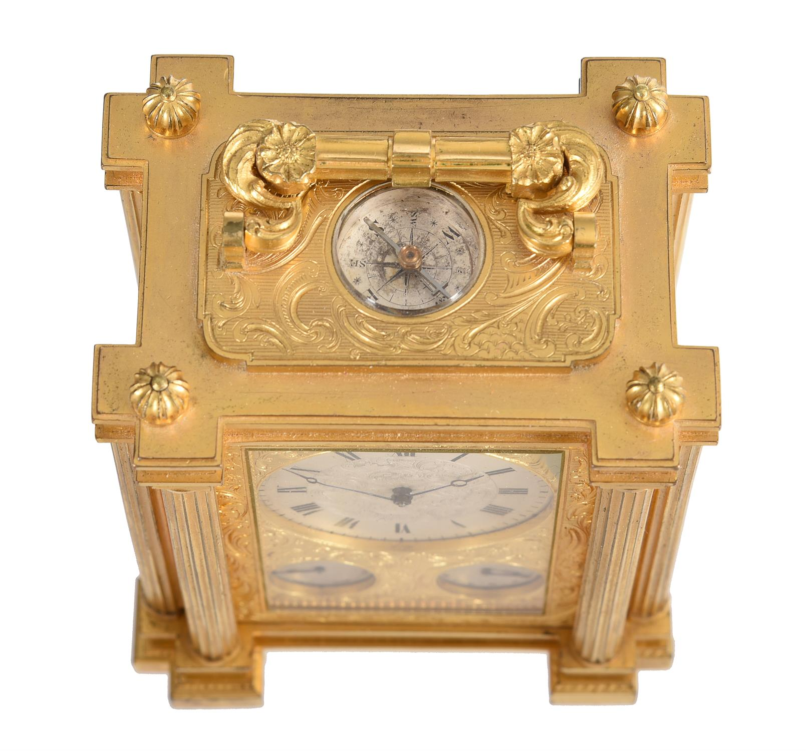 A fine small early Victorian engraved gilt brass small calendar carriage timepiece with twin thermom - Image 3 of 14
