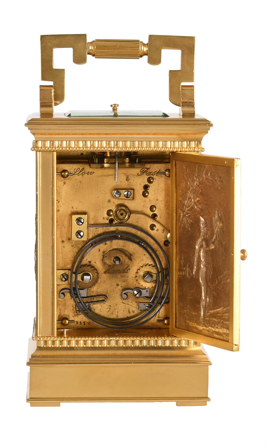 A fine French gilt brass carriage clock with multi-colour relief cast panels and push-button repeat - Image 7 of 7