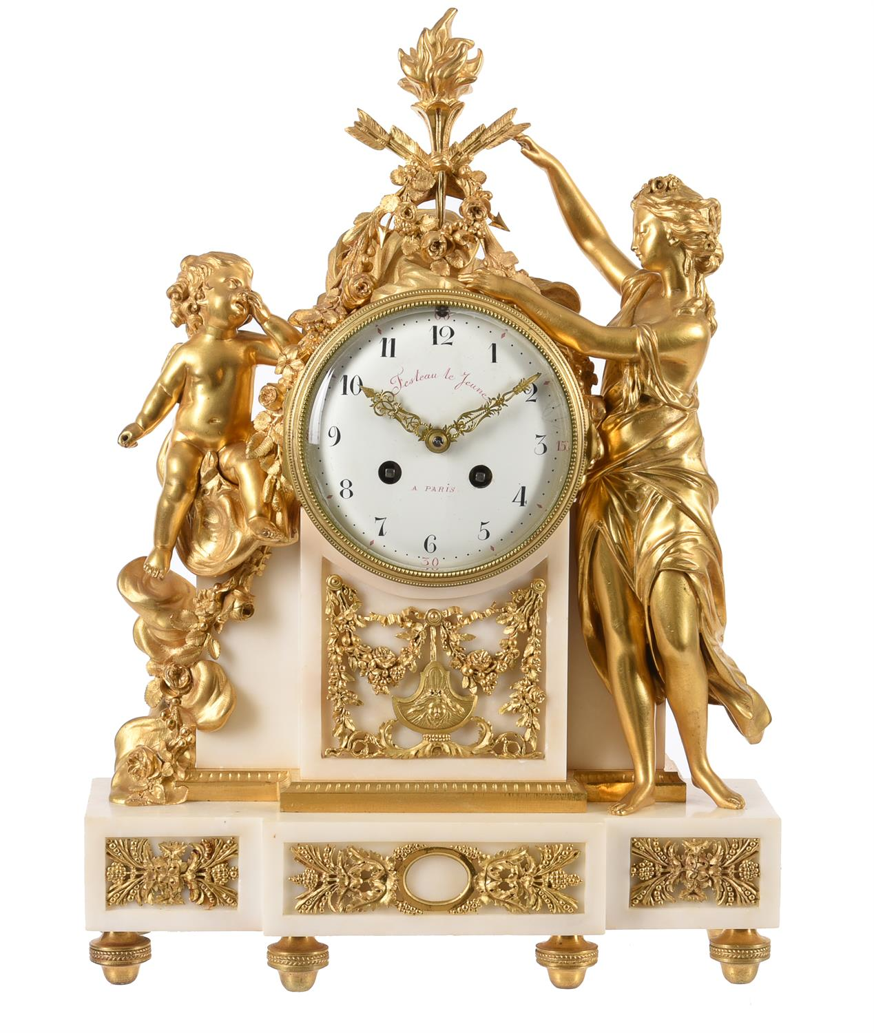 A French Louis XVI style ormolu and white marble figural mantel clock 'Amor loses his weapons'