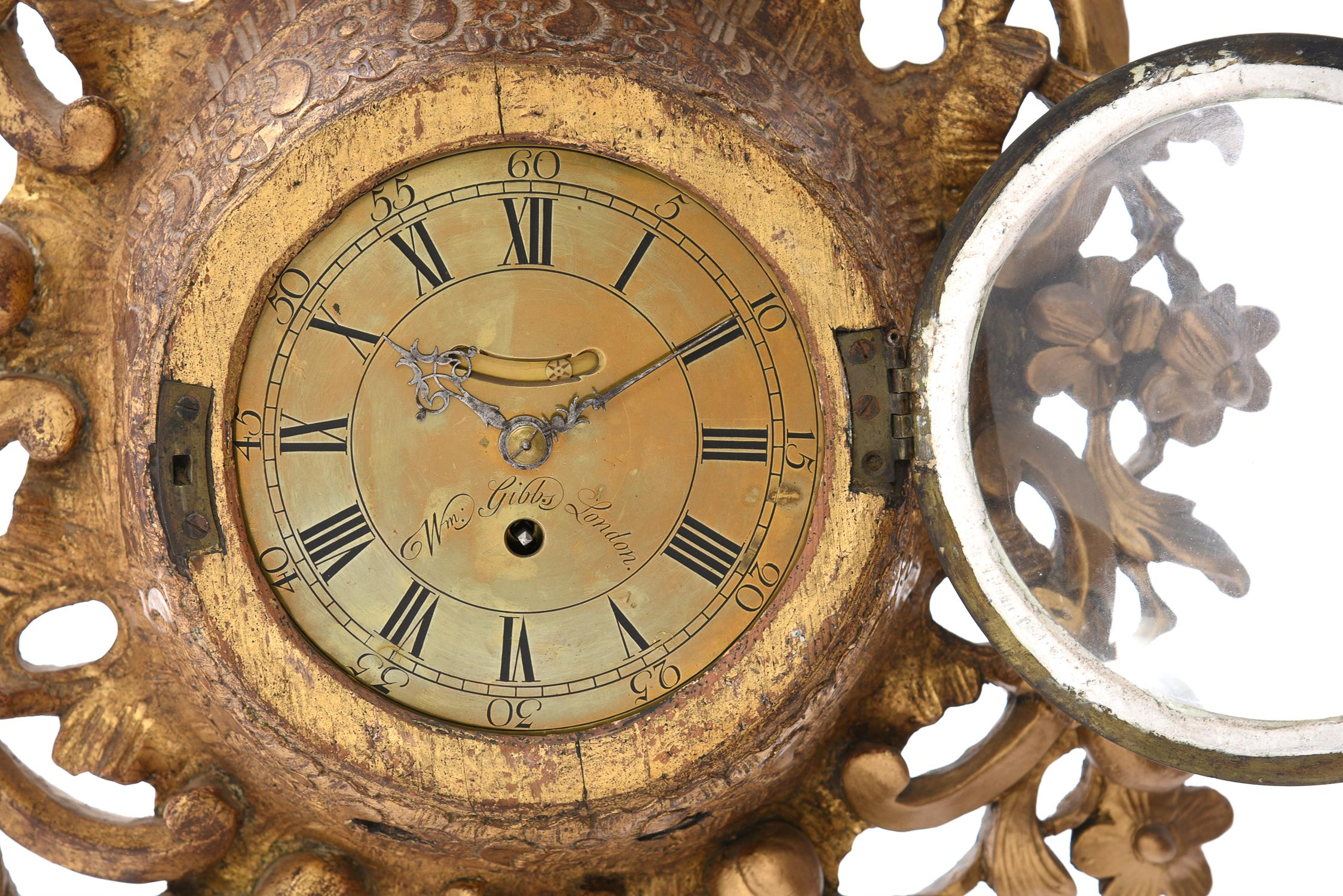 A George III giltwood cartel wall timepiece with seven inch dial - Image 2 of 3