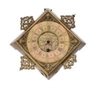A rare William III small 'diamond' dial wall timepiece case and dial