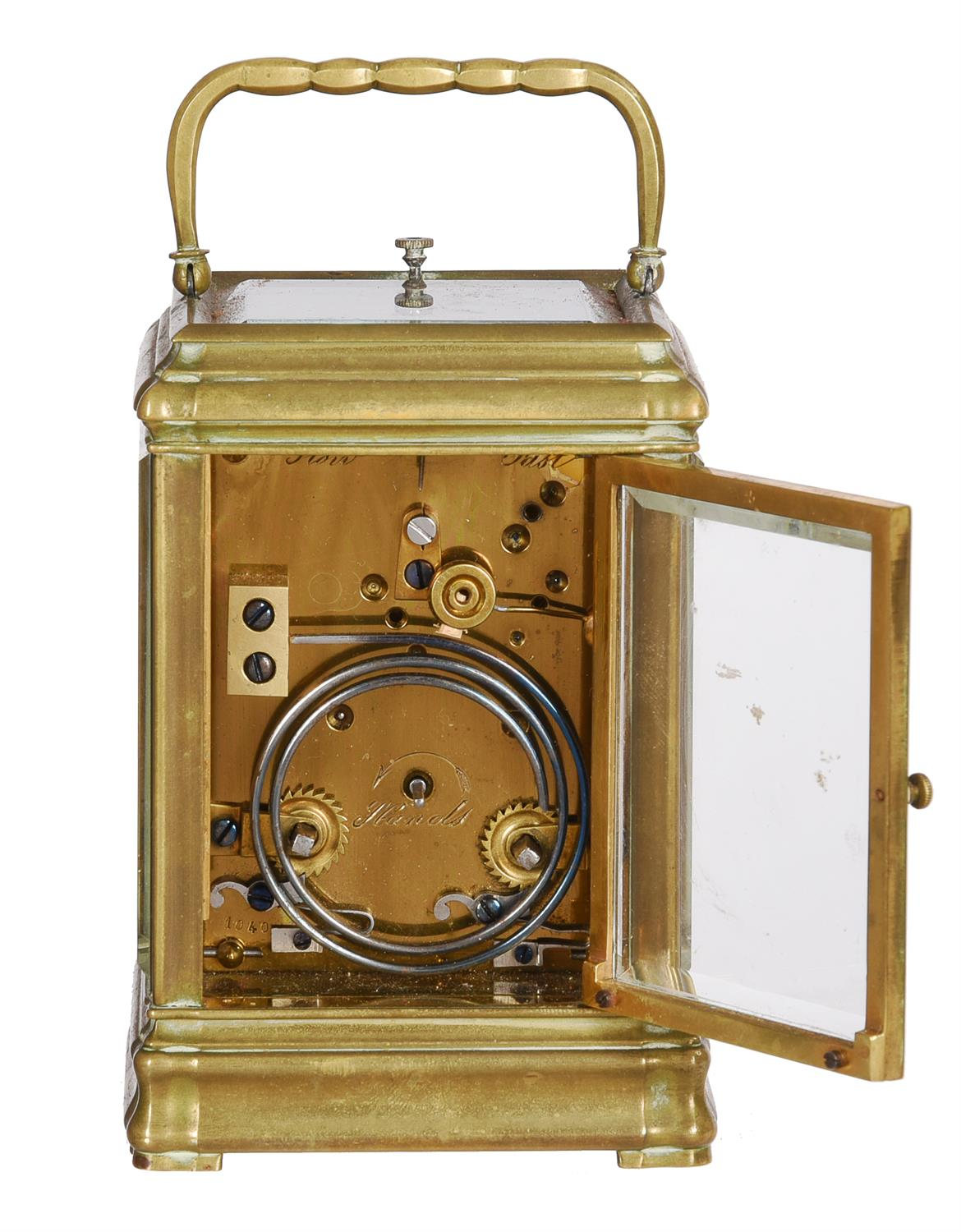 A French brass mid-sized gorge carriage clock with push-button repeat - Image 3 of 3