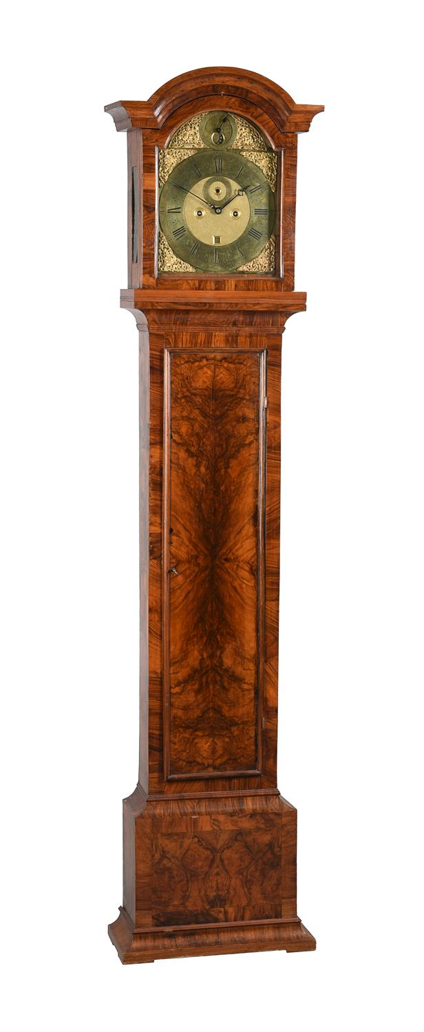 A Queen Anne walnut eight-day longcase clock with moonphase, Simon DeCharmes
