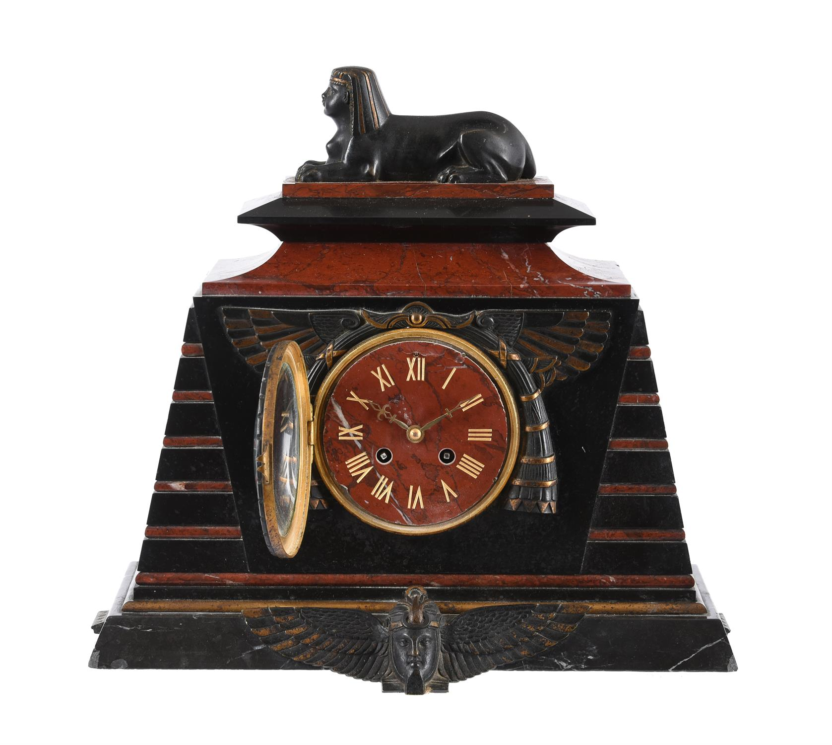 A French Egyptian revival bronze mounted marble mantel clock garniture - Image 4 of 7
