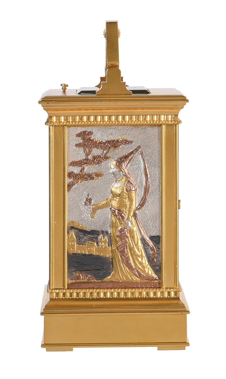 A fine French gilt brass carriage clock with multi-colour relief cast panels and push-button repeat - Image 5 of 7