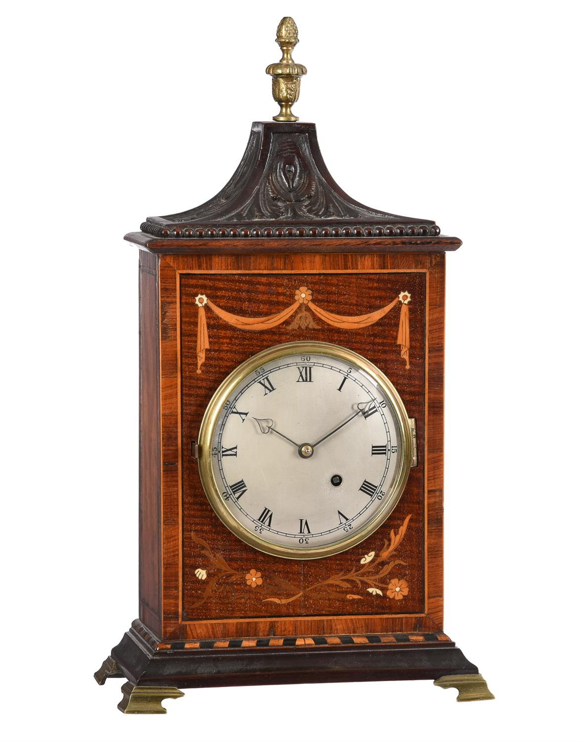 Y A English carved and inlaid mahogany mantel timepiece