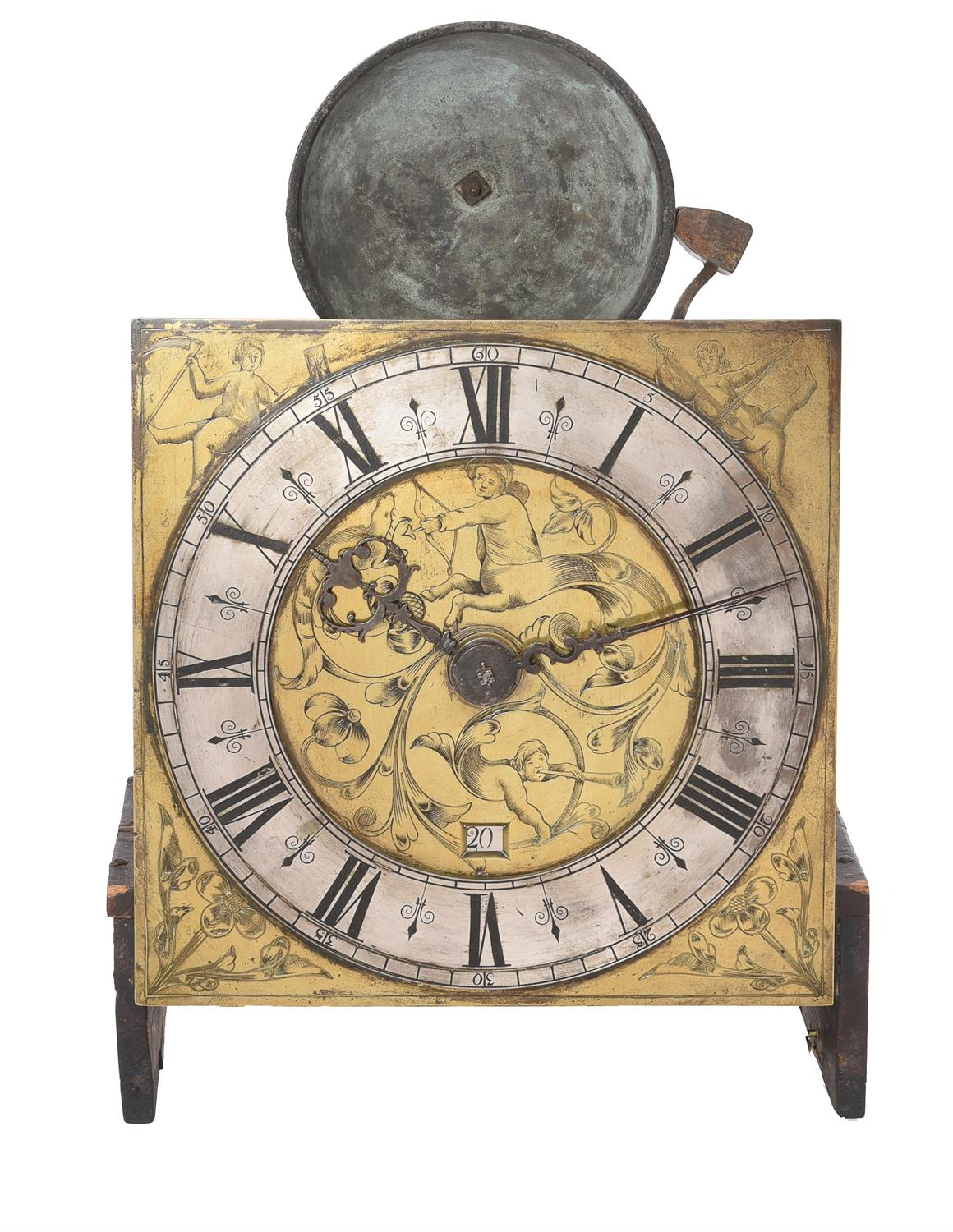 A fine Charles II ebonised thirty-hour longcase clock with unusual figural engraved 10 inch dial - Image 3 of 6