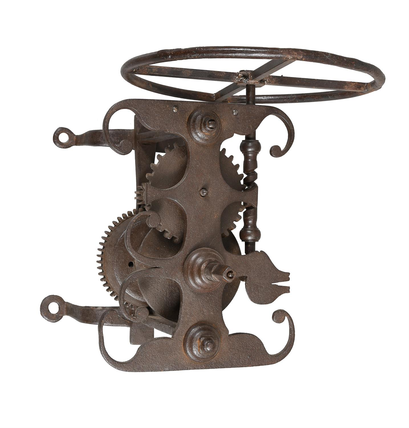 A rare George III forged iron and steel weight-driven spit roasting jack