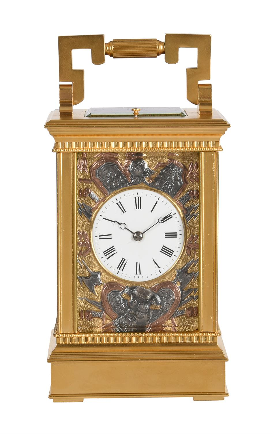 A fine French gilt brass carriage clock with multi-colour relief cast panels and push-button repeat - Image 2 of 7