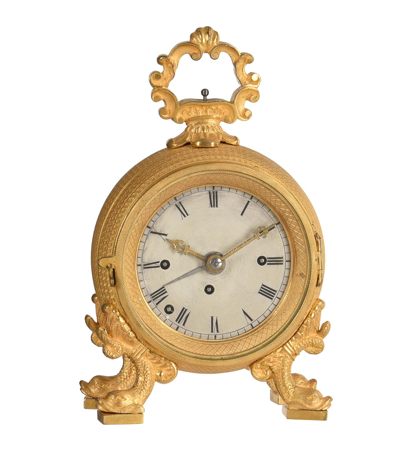 An Austrian ormolu cased grande-sonnerie striking 'Pendule d'Officier' with alarm
