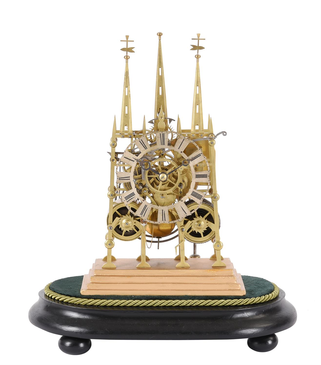 A Victorian lacquered brass 'Litchfield Cathedral' hour striking skeleton clock