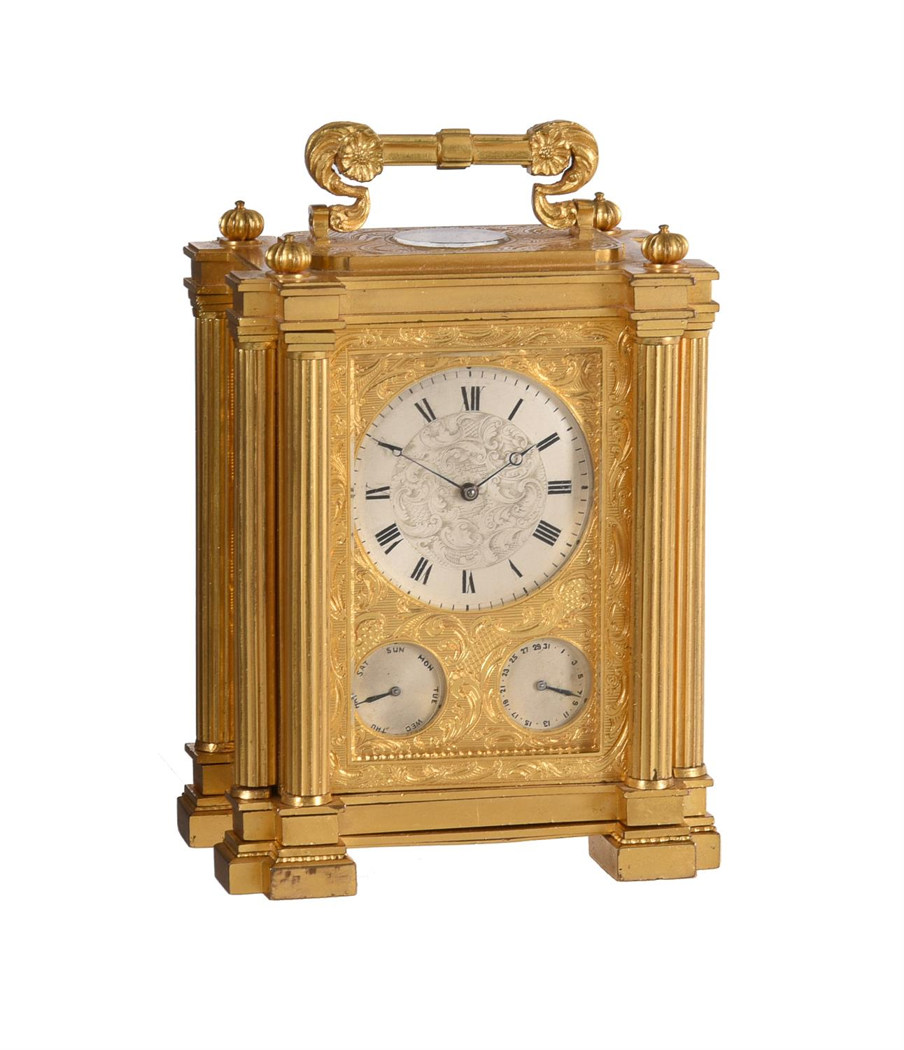 A fine small early Victorian engraved gilt brass small calendar carriage timepiece with twin thermom
