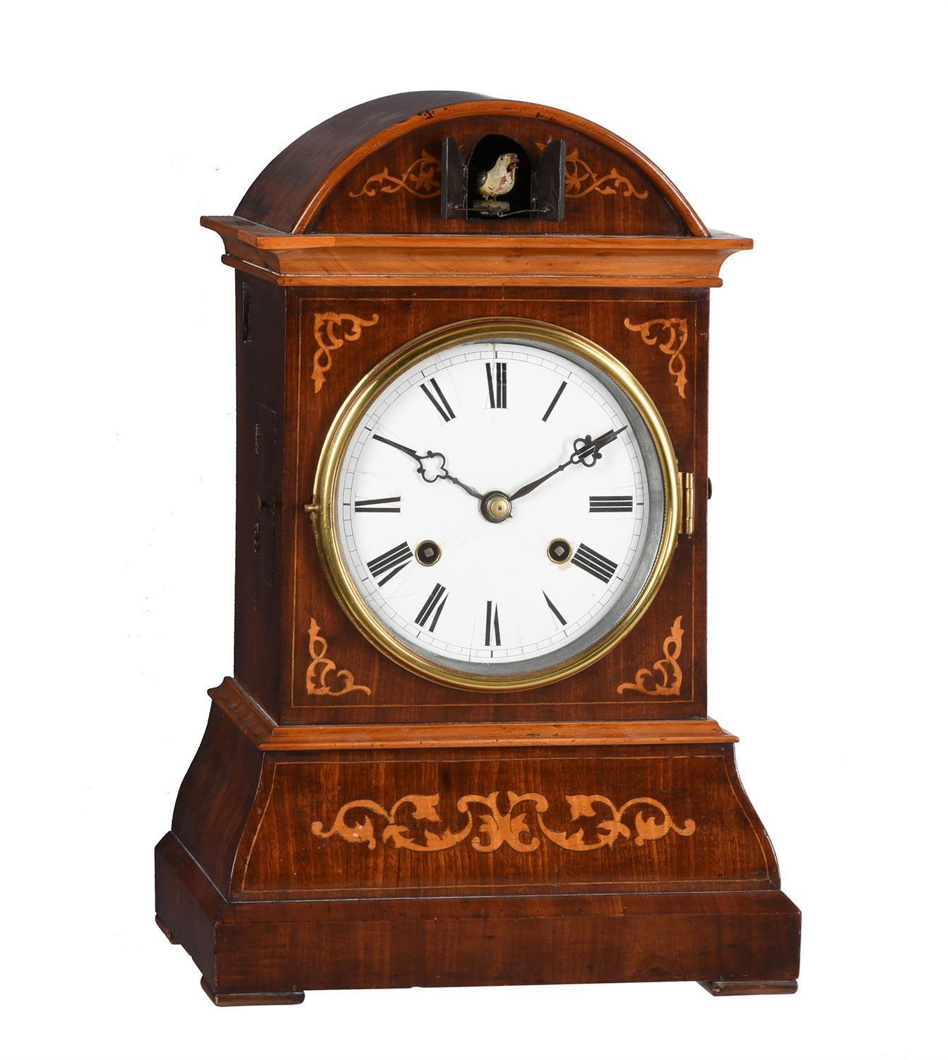 A rare German Black Forest inlaid mahogany spring-driven musical cuckoo mantel clock - Image 2 of 9