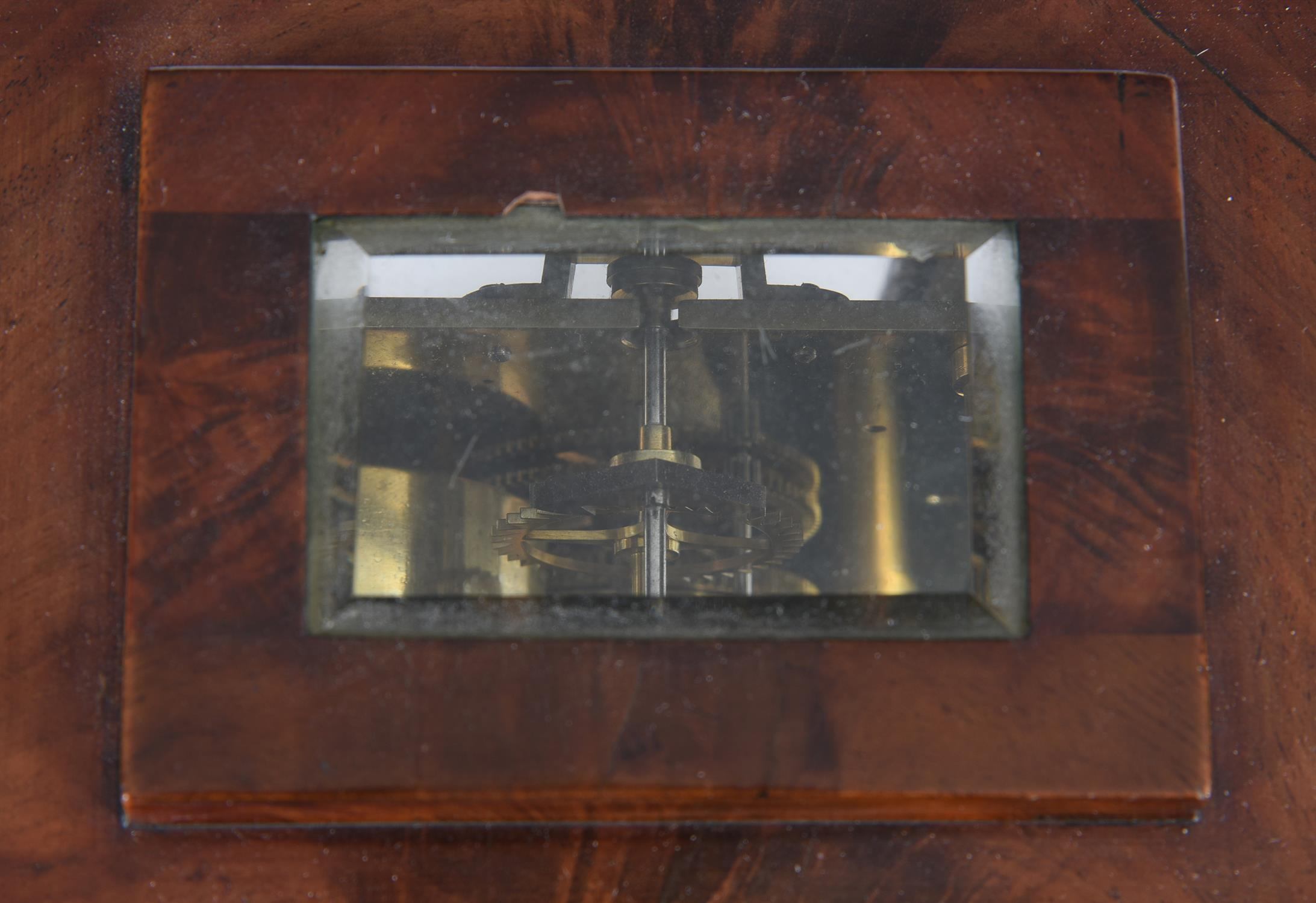 A Victorian figured mahogany small four-glass library mantel timepiece - Image 2 of 3