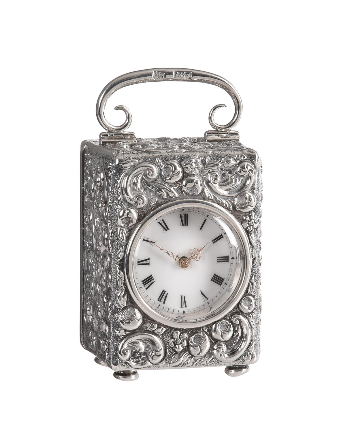 A Victorian silver cased miniature carriage timepiece