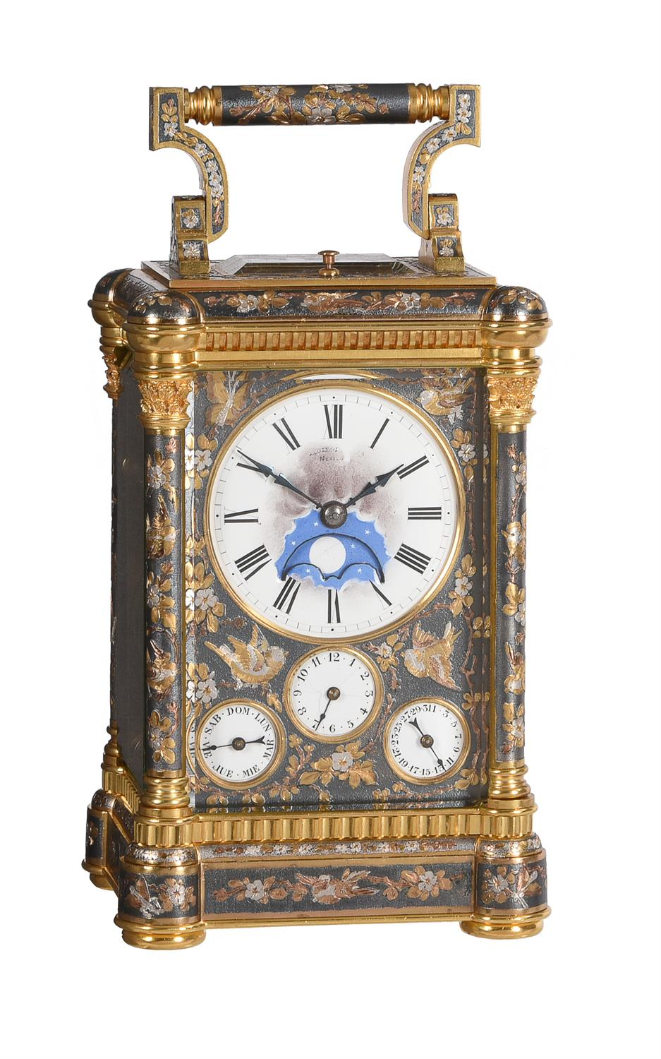 A fine multi-colour grande-sonnerie striking and repeating moonphase calendar alarm carriage clock