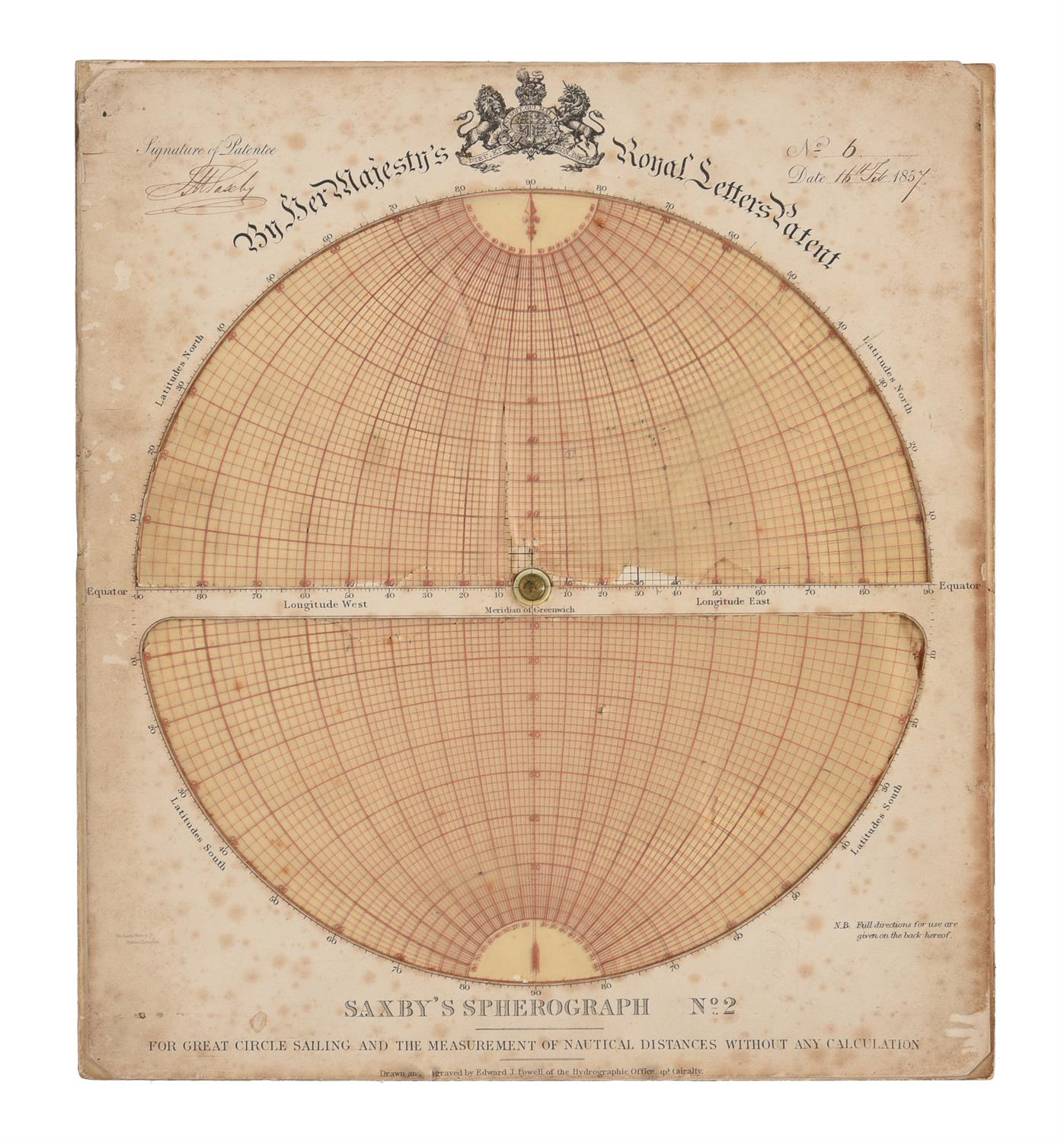 A rare group of 'Saxby's patent spherograph' marine navigational error calculator panels - Image 2 of 19