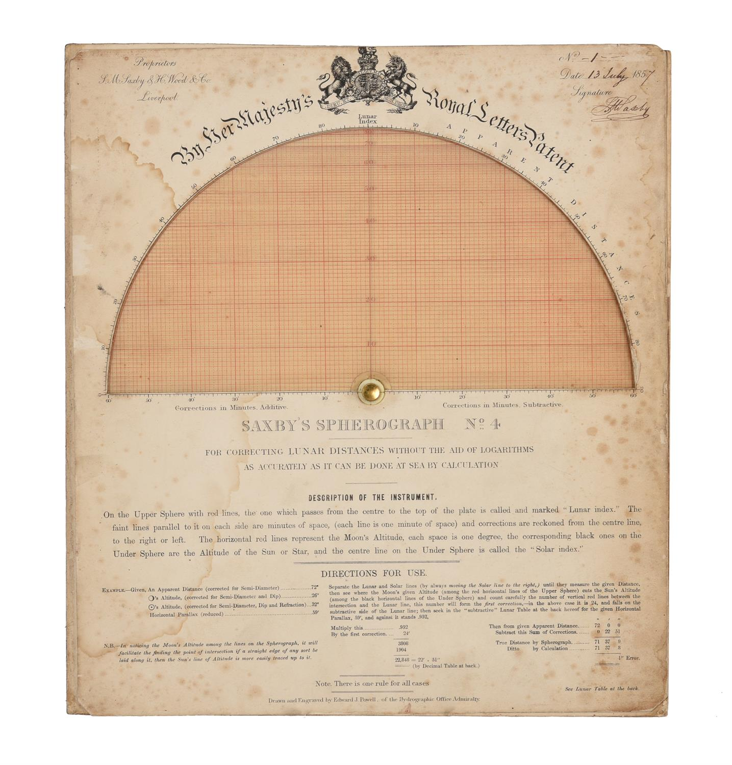 A rare group of 'Saxby's patent spherograph' marine navigational error calculator panels - Image 13 of 19