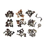 A collection of fifty-five longcase clock crank keys