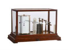A rare oak cased micro-barograph with thermometer