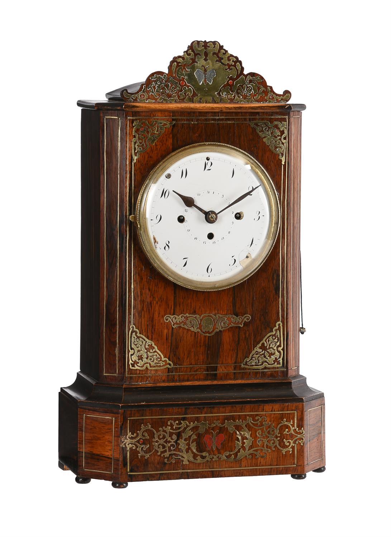 Y An Austrian brass inlaid rosewood grande-sonnerie striking mantel clock