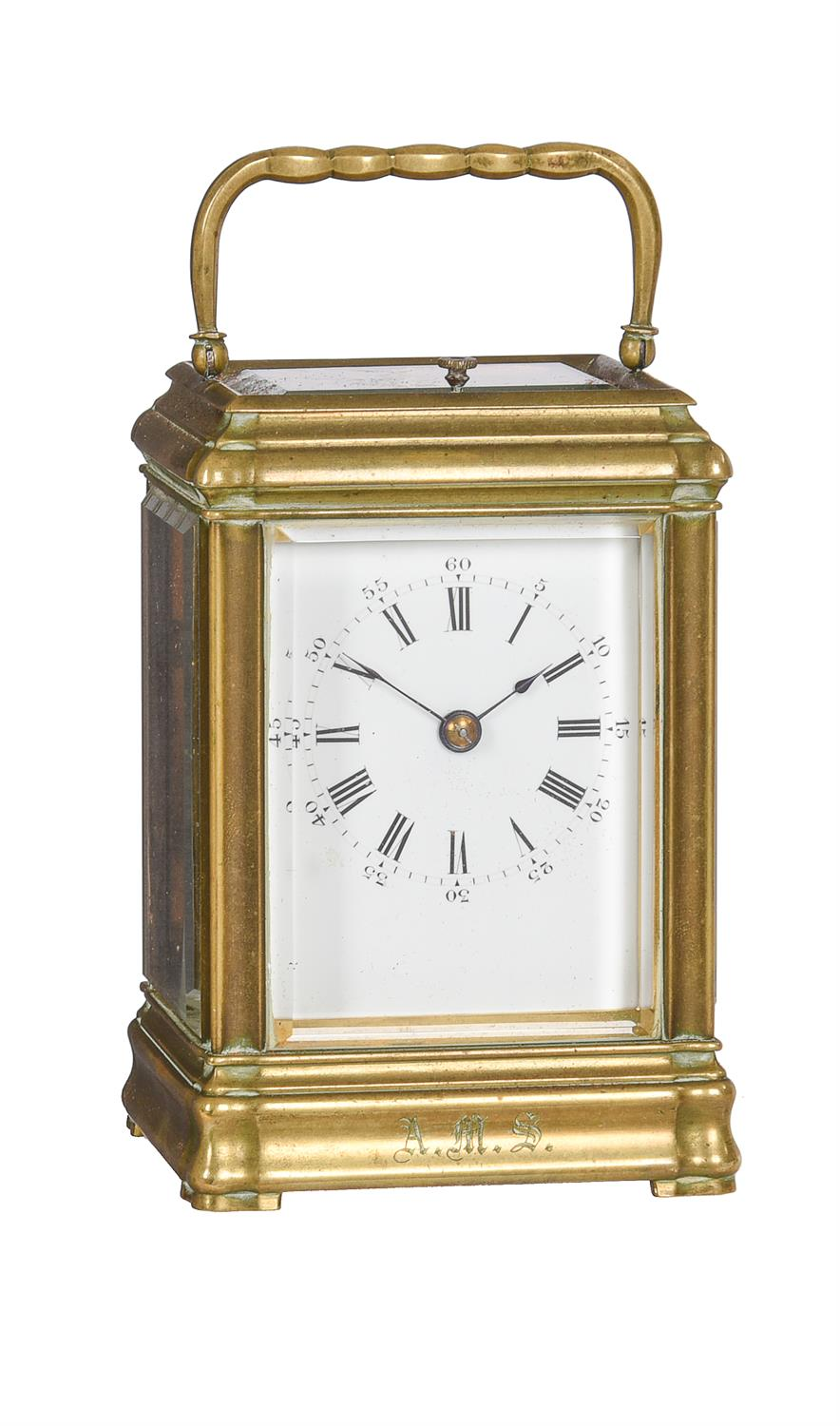 A French brass mid-sized gorge carriage clock with push-button repeat