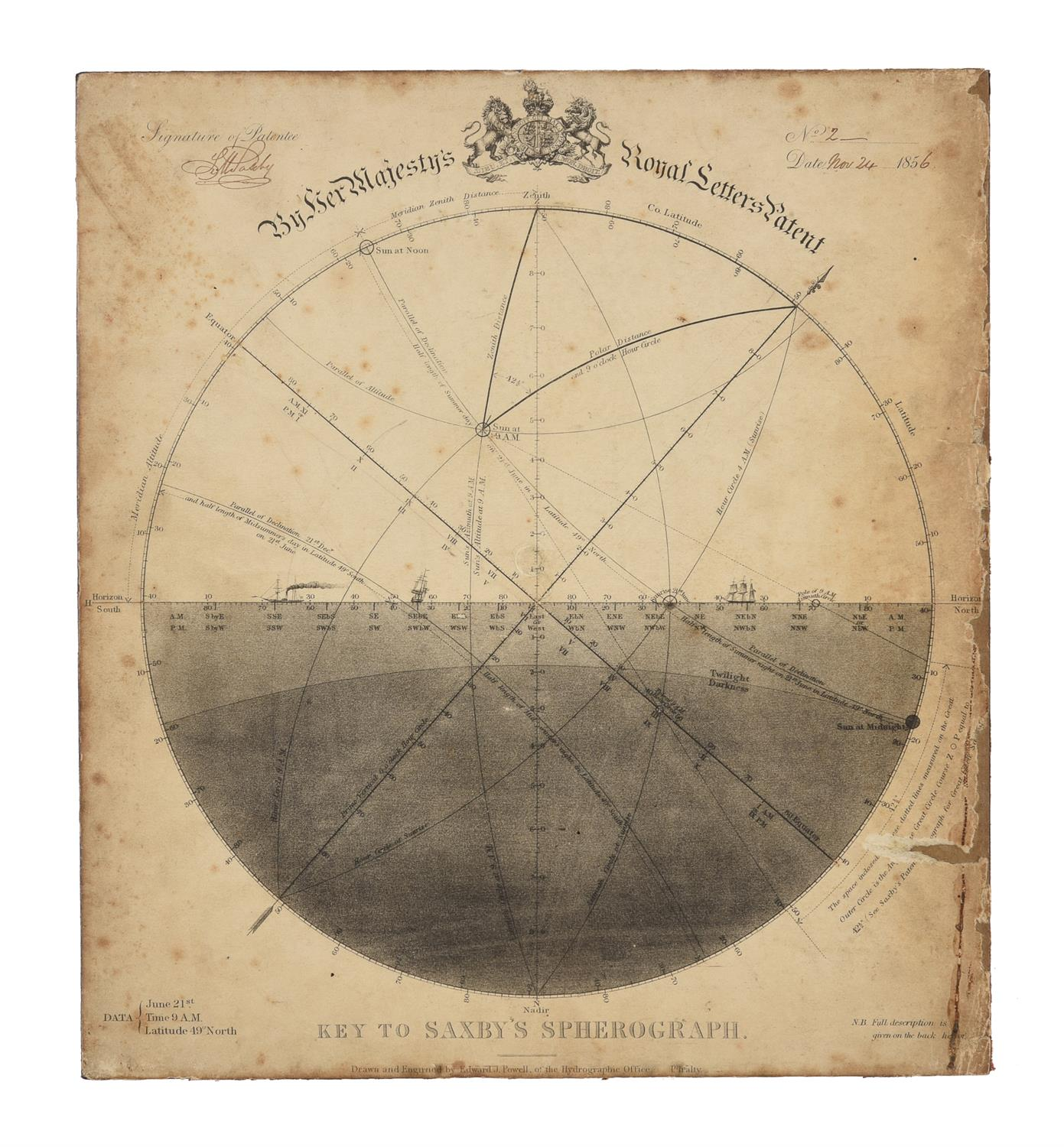 A rare group of 'Saxby's patent spherograph' marine navigational error calculator panels - Image 15 of 19